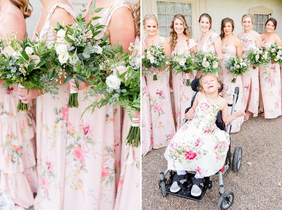 Bridesmaids with floral gowns for PA wedding day photographed by Renee Nicolo Photography