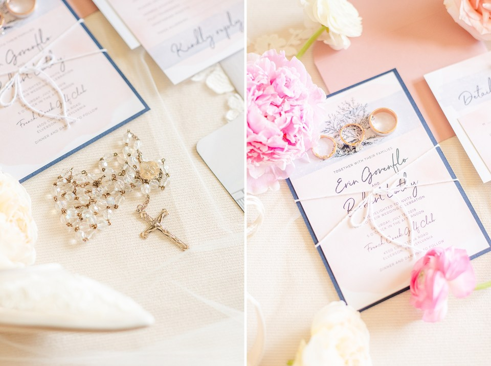 stationery for summer wedding at French Creek Golf Wedding photographed by Renee Nicolo Photography