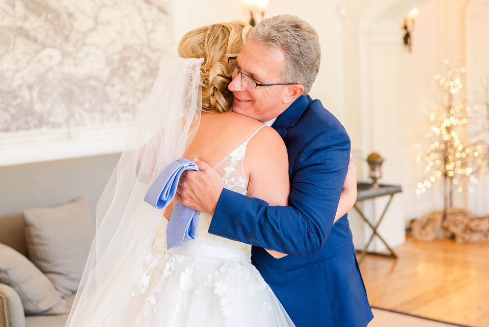 first look with bride and father at French Creek Golf Club photographed by Renee Nicolo Photography