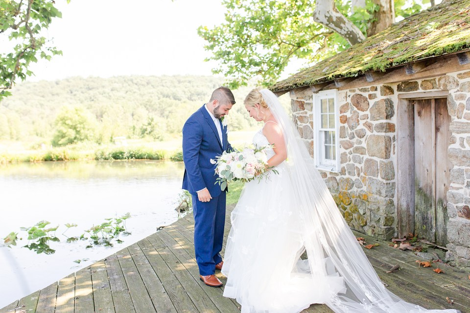 Renee Nicolo Photography photographs bride and groom's first look at French Creek Golf Club wedding