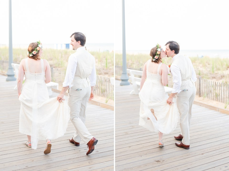Rehoboth Beach boardwalk wedding portraits photographed by Renee Nicolo Photography
