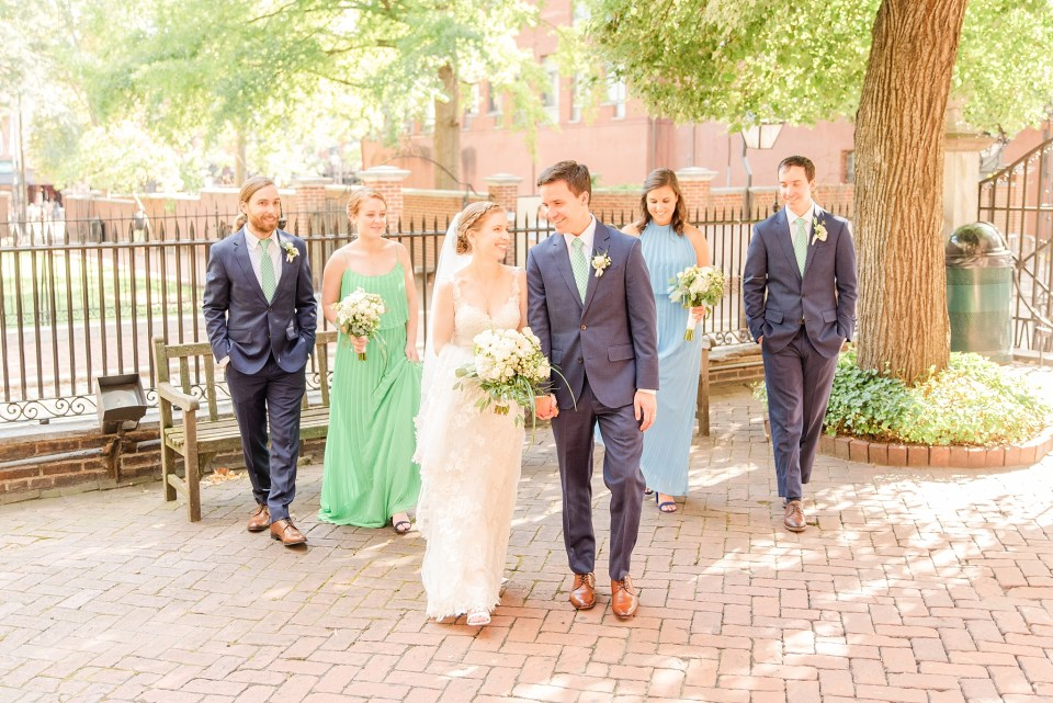 bridal party portraits in summer at Philly church with Renee Nicolo Photography