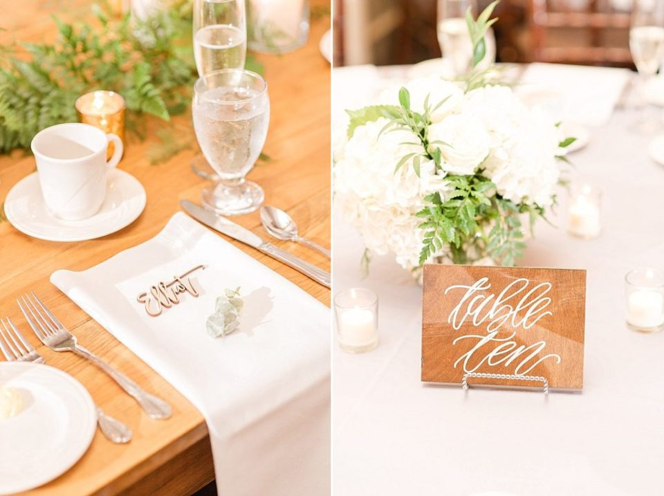 wooden reception decor photographed by Renee Nicolo Photography