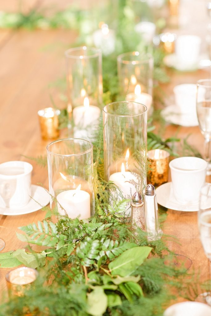 greenery table runner photographed by Renee Nicolo Photography