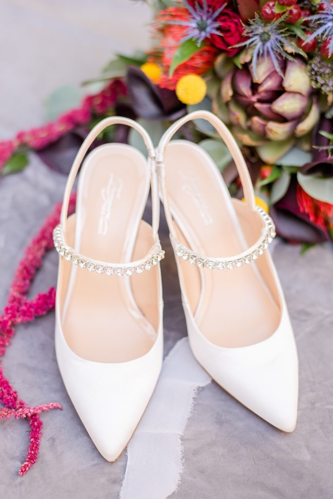 bride's shoes photographed by Renee Nicolo Photography