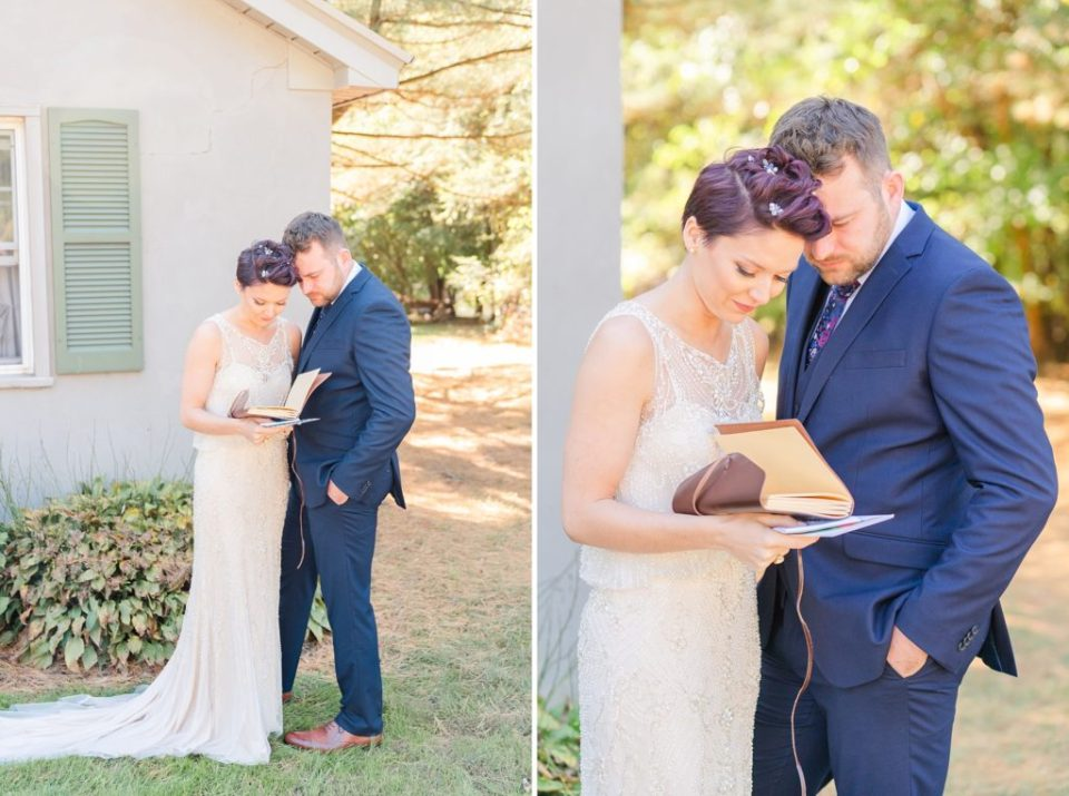 Renee Nicolo Photography photographs couple exchanging private vows on wedding day in PA