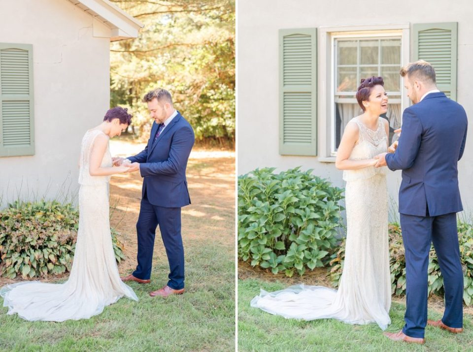 Historic Stonebrook Farm wedding day first look photographed by Renee Nicolo Photography