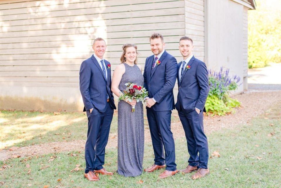 groom with groomsmen and groomswoman photographed by Renee Nicolo Photography