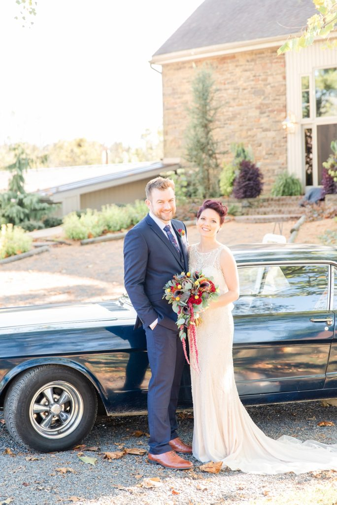 Renee Nicolo Photography photographs bride and groom with vintage car