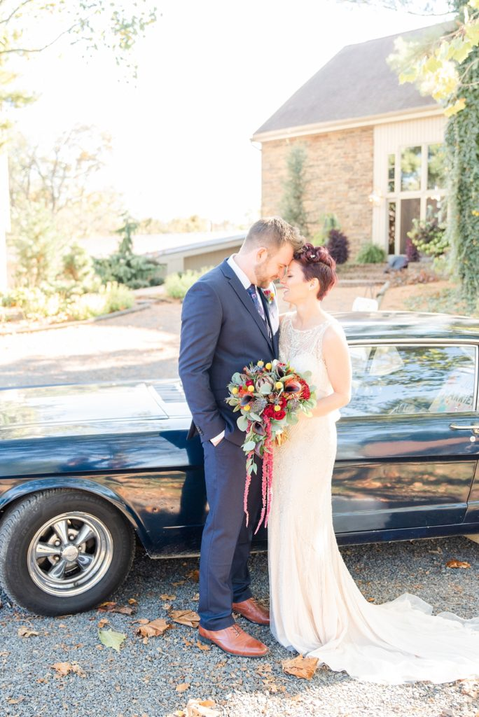 antique car wedding portraits by Renee Nicolo Photography