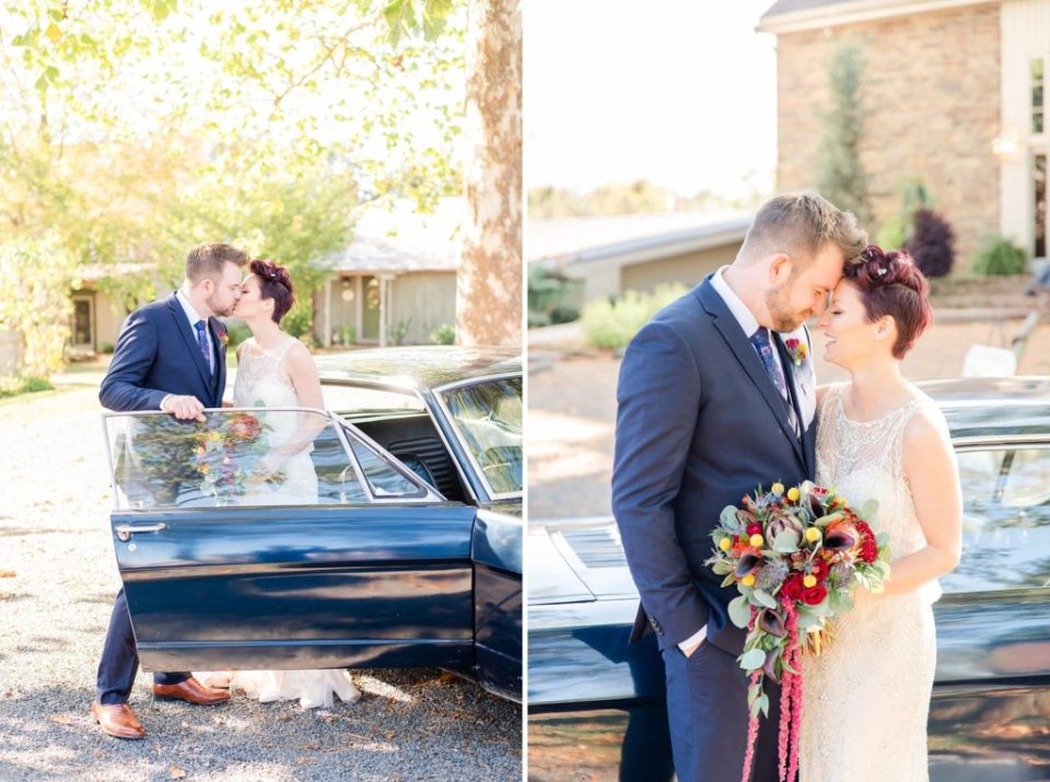 bride and groom photographed with vintage Mustang