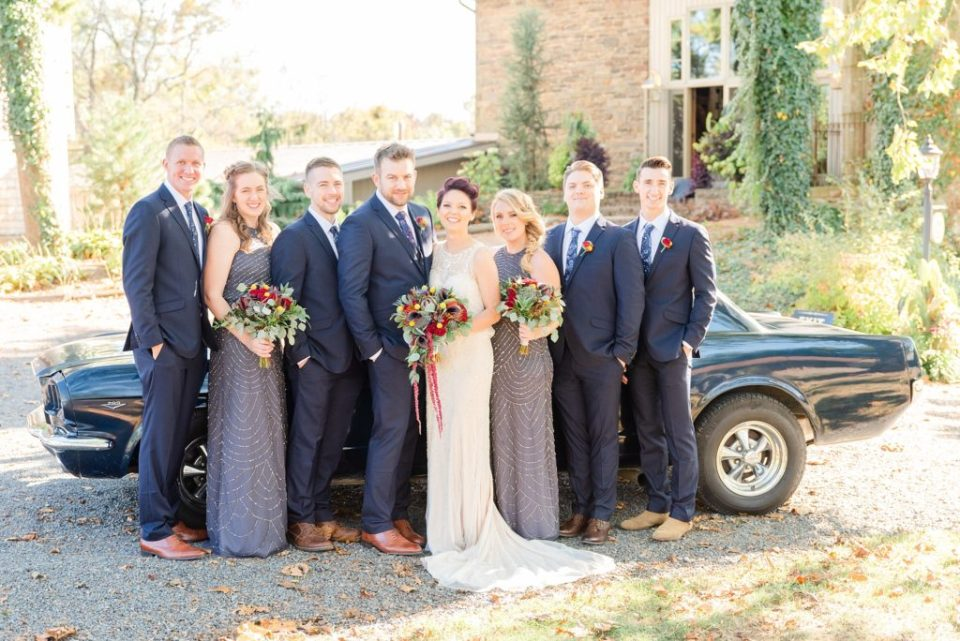 vintage car bridal party portraits with Renee Nicolo Photography