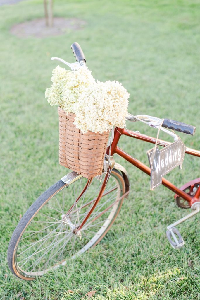 bike with floral decor for wedding