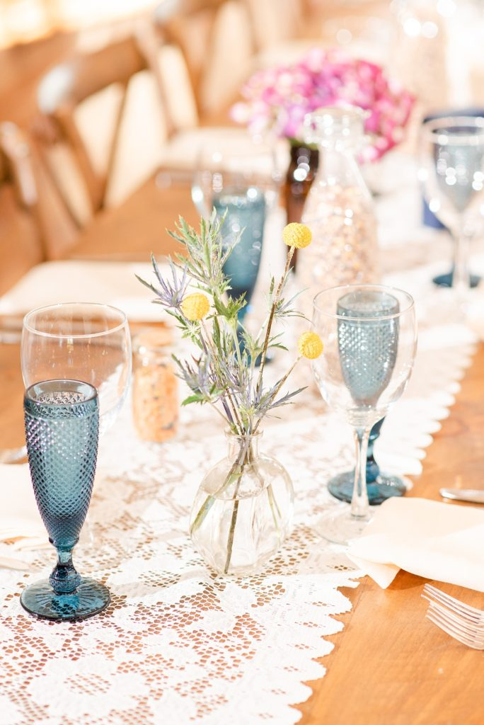 vintage chic decor for Historic Stonebrook Farm wedding reception photographed by Renee Nicolo Photography