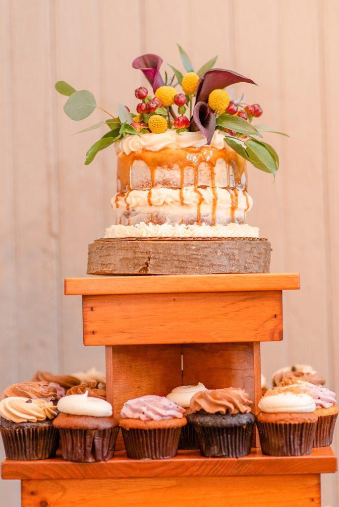 rustic wedding cake photographed by Renee Nicolo Photography