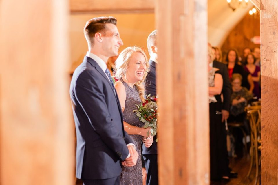 guests watch first dance at Historic Stonebrook Farm wedding reception photographed by Renee Nicolo Photography