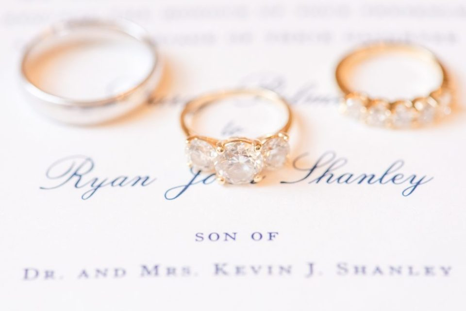 wedding rings on stationery for PA wedding day with Renee Nicolo Photography