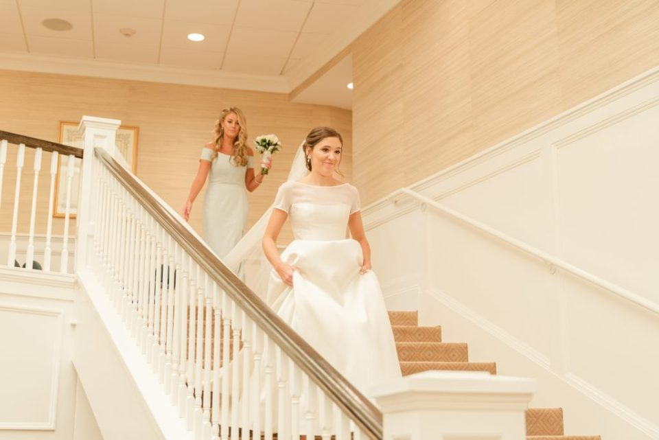 bride enters first look with father by Renee Nicolo Photography
