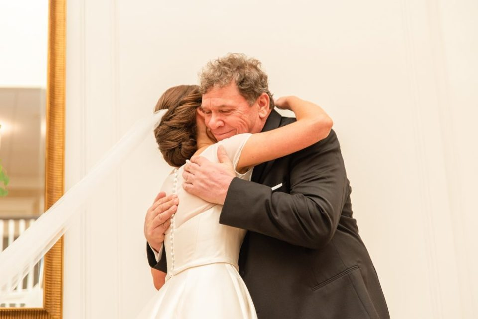 first look with dad on PA wedding day by Renee Nicolo Photography