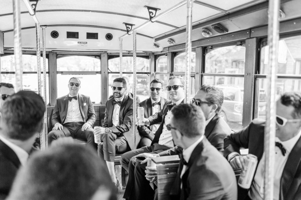 Philadelphia trolley groomsmen transportation photographed by Renee Nicolo Photography