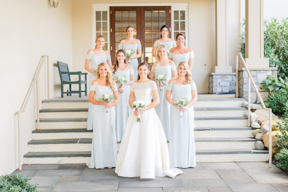 dusty blue bridesmaid gowns photographed by Renee Nicolo Photography