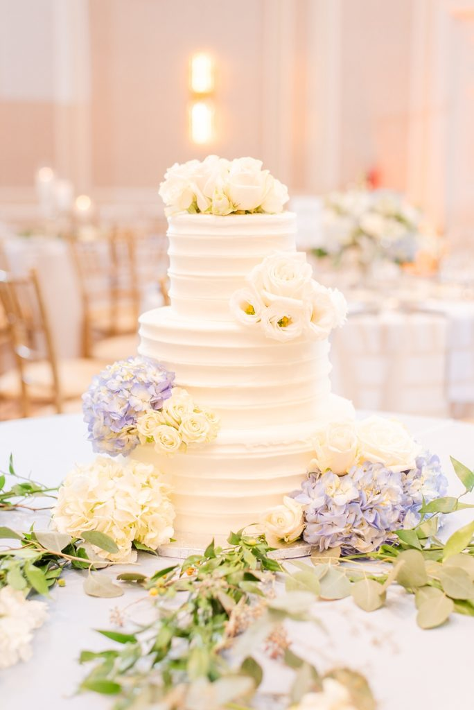 elegant wedding cake by Bredenbeck's Bakery photographed by Renee Nicolo Photography