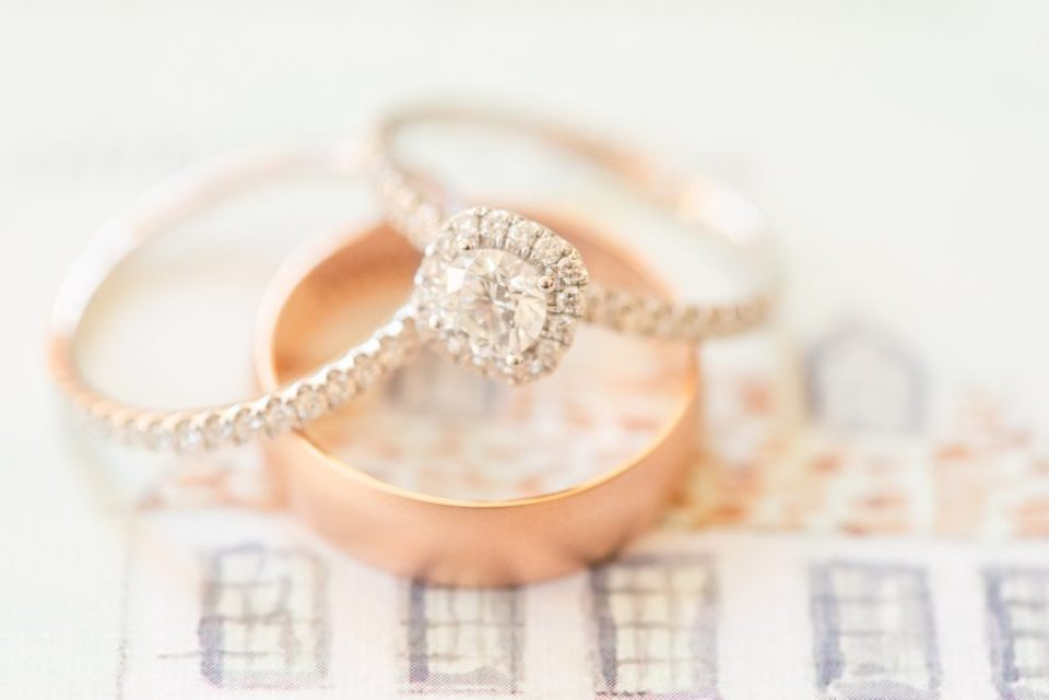 wedding rings for Chesterbrook PA wedding with Renee Nicolo Photography