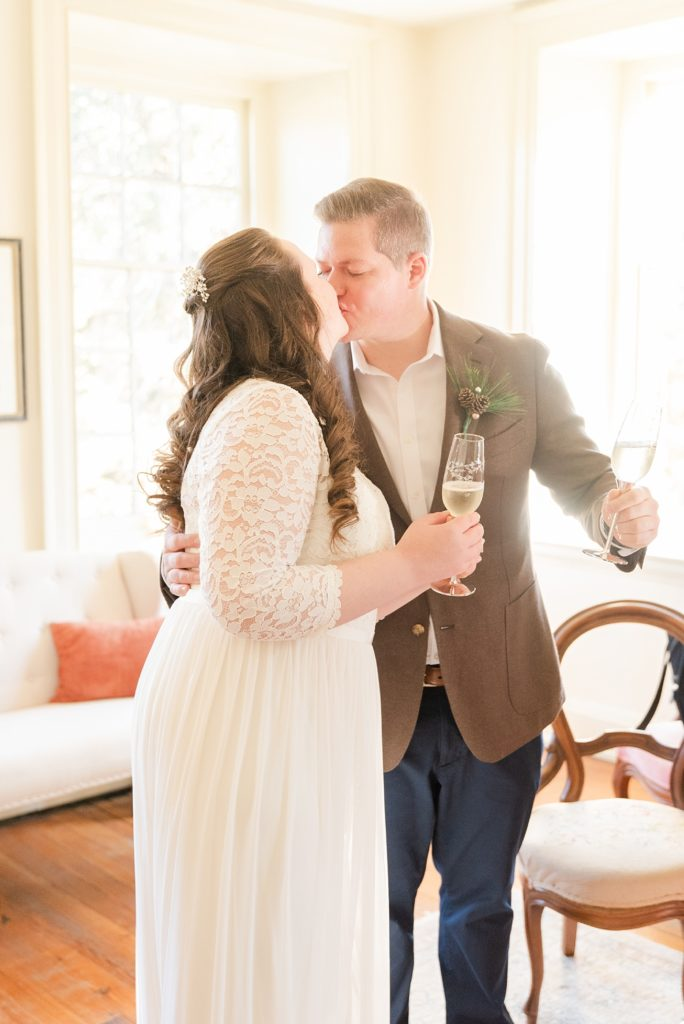 champagne toast photographed by Renee Nicolo Photography at Duportail House