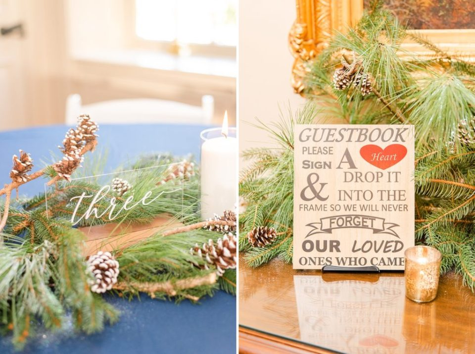 pinecones and greenery reception details photographed by Renee Nicolo Photography