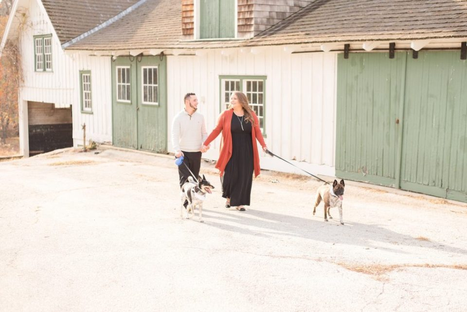 Valley Forge National park engagement session with dogs photographed by Renee Nicolo Photography