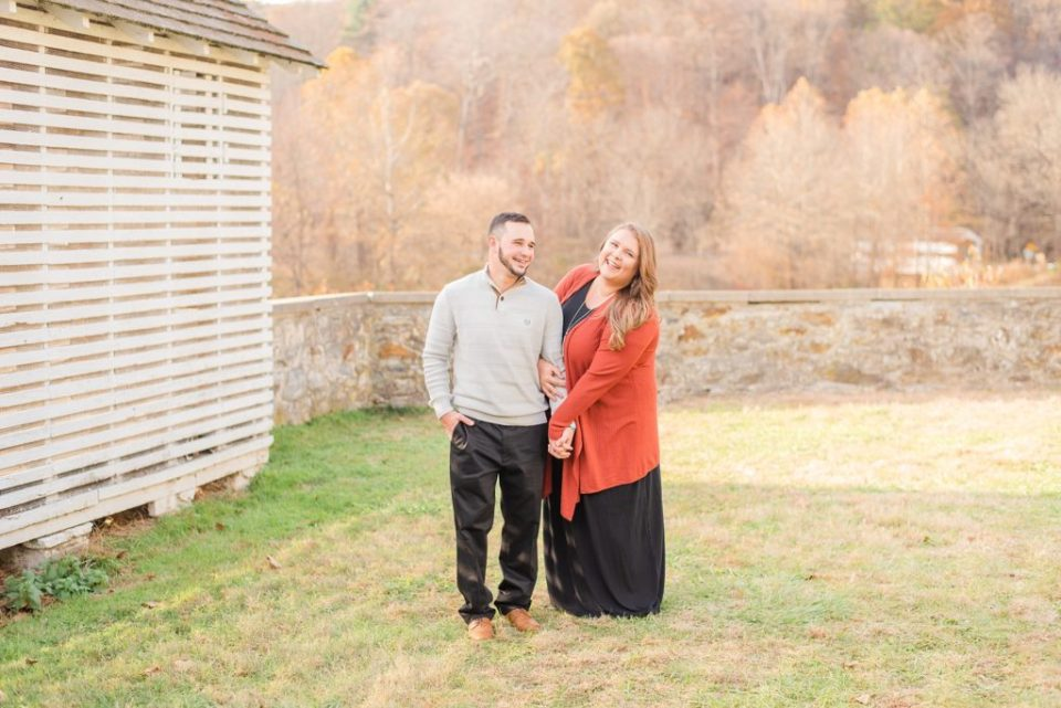 engagement photos in the field of Valley Forge National park