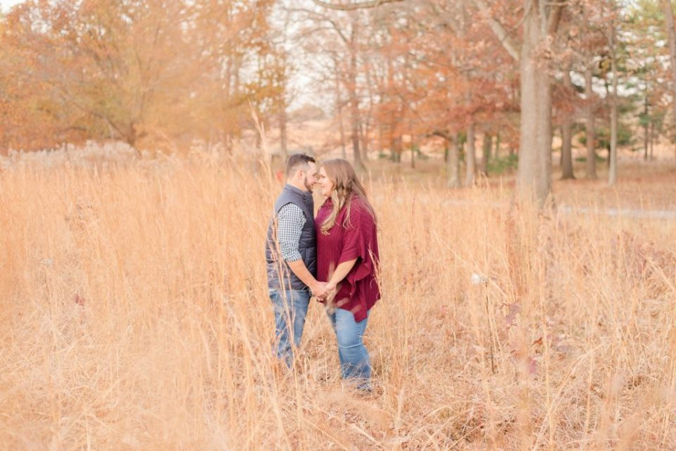 engagement session in field with Renee Nicolo Photography at Valley Forge National Park