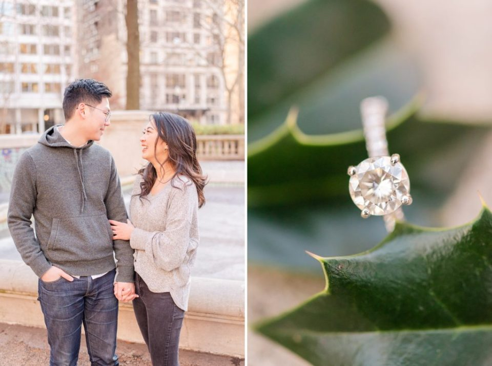engagement ring photographed during Philly PA engagement session