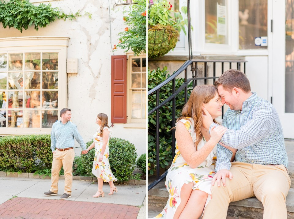 engaged couple walks down street in Chestnut Hill with Renee Nicolo Photography