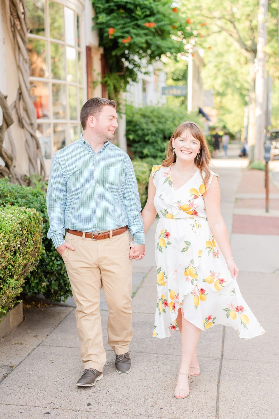 bride wears white floral dress for engagement session with Renee Nicolo Photography