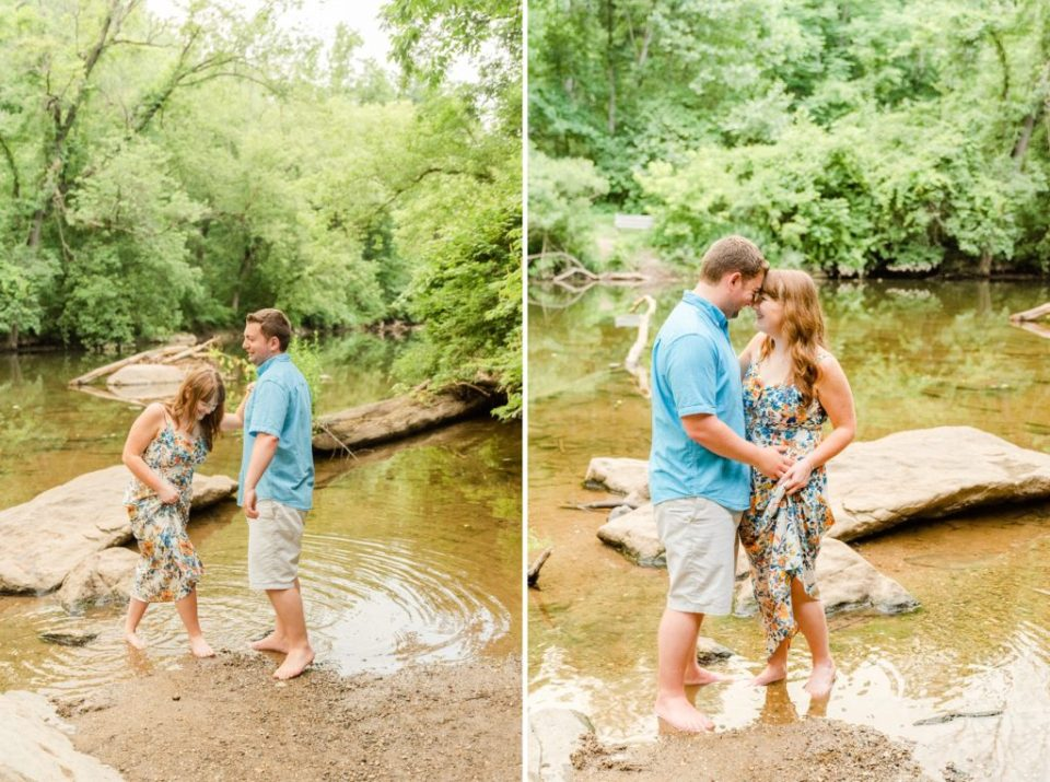 summer engagement session along river with Renee Nicolo Photography