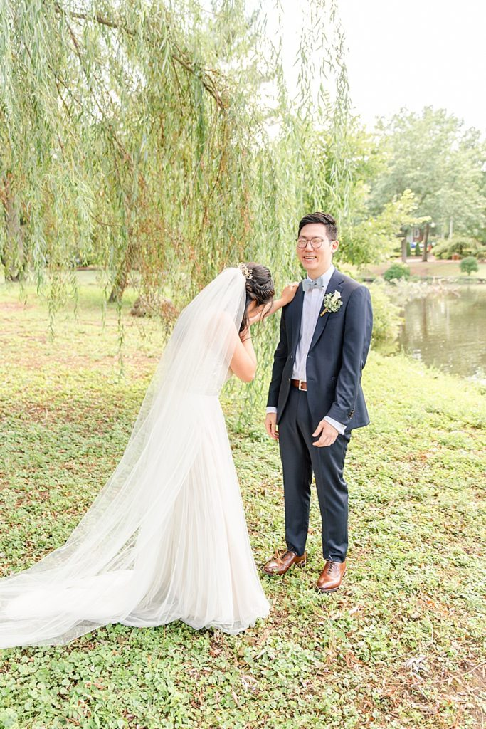 bride cries during first look in New Jersey