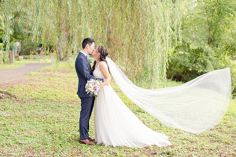 bride and groom kiss by willow tree with veil floating