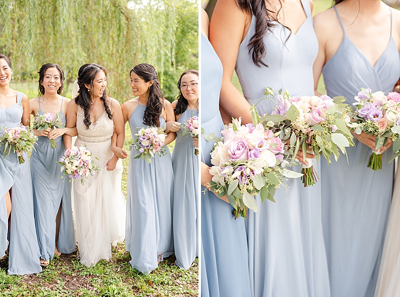 wedding portraits of bridesmaids in dusty blue dresses