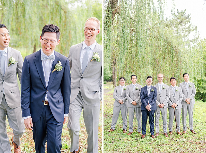 summer portraits at Cooper Pond Park of groom and groomsmen