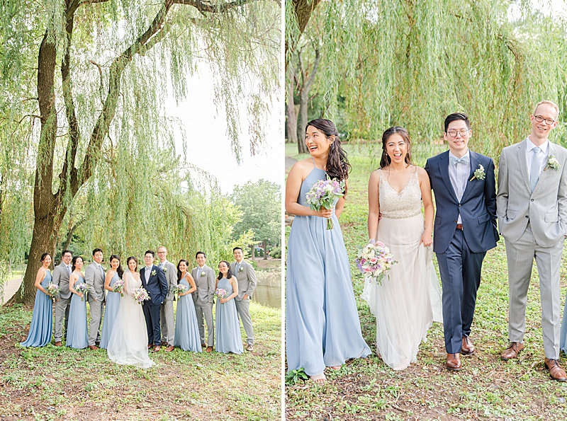 bridesmaids in dusty blue and groomsmen in grey suits pose for NJ wedding day