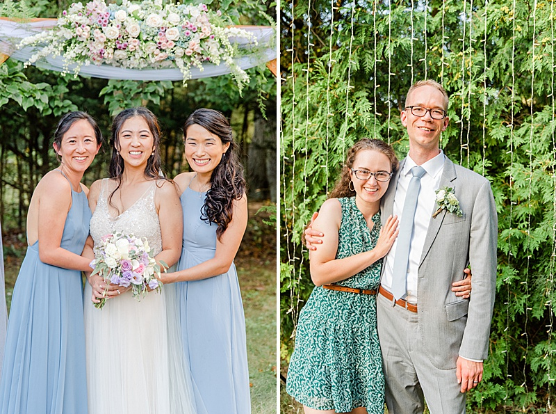 bride poses with guests