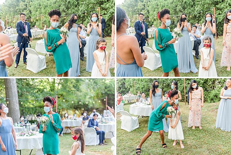 bouquet toss during NJ backyard wedding
