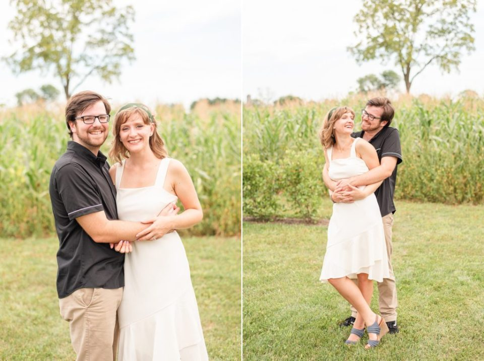 engaged couple poses at Historic Stonebrook Farm