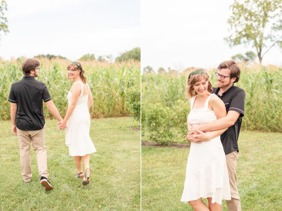 farm engagement session with casual outfits