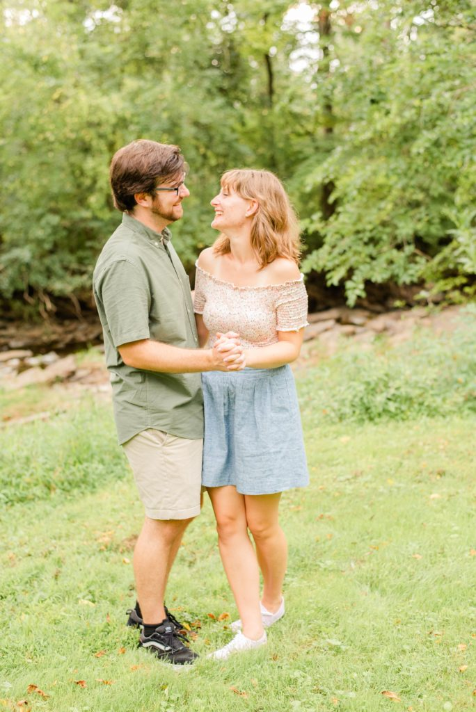 engaged couple dances at Historic Stonebrook Farm