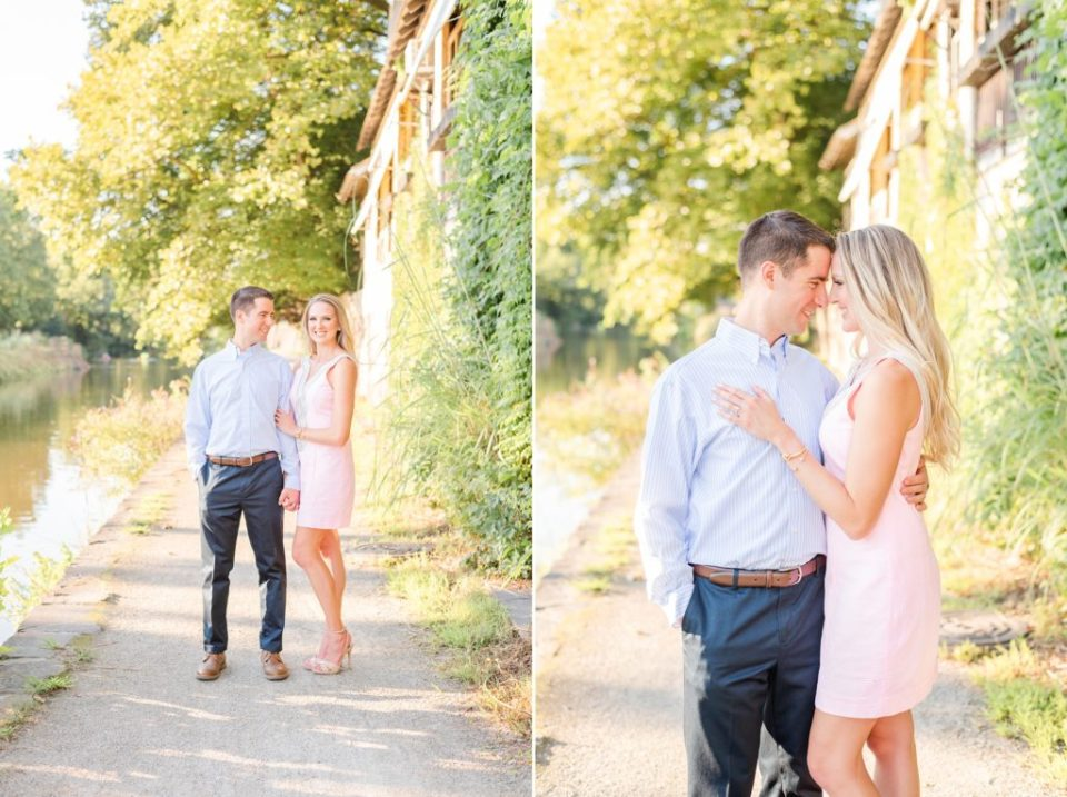 Engagement portraits along water in New Hope
