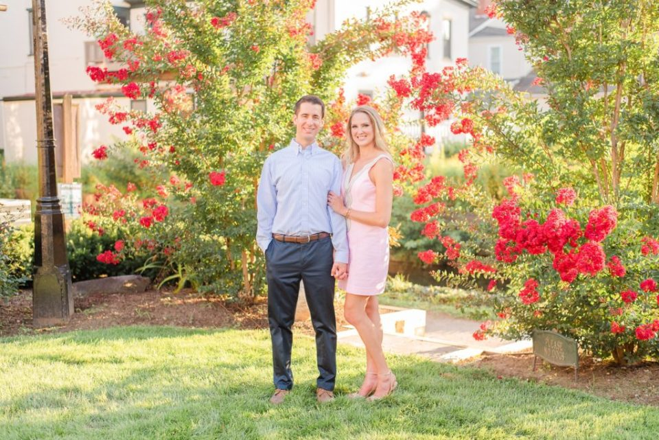 engagement photos with couple in pastel outfits