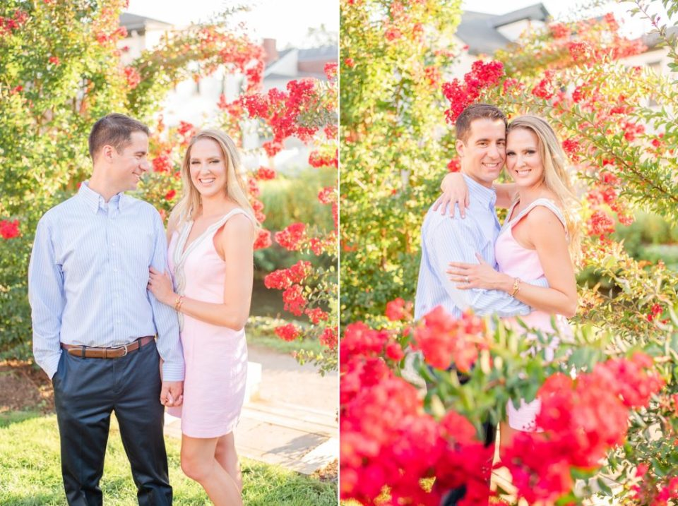 bride and groom pose in gardens of New Hope PA