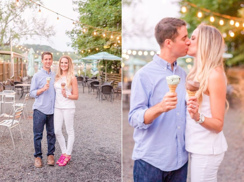 ice cream in PA during engagement portraits